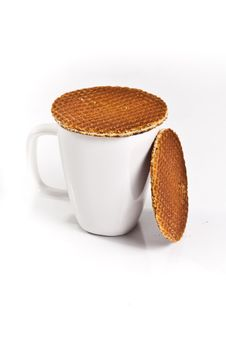 Free Dutch Waffles With A Cup Of Tea Royalty Free Stock Image - 18254766
