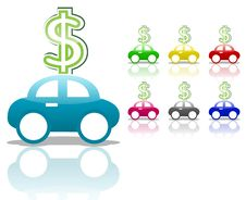 Free Car With Dollar Sign Royalty Free Stock Photos - 18255078