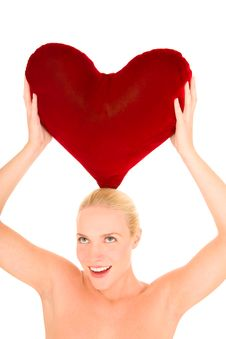 Free Naked Woman With Heart-shaped Pillow Stock Photos - 18255383