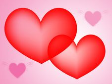 Abstract Red And Pink Hearts Background Royalty Free Stock Images