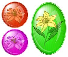 Free Flower Lily, Buttons Set Royalty Free Stock Image - 18256166