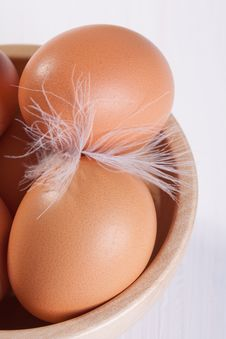 Eggs And Feather Stock Photography