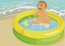 Baby In Inflatable Pool Stock Images