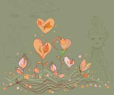 Free Valentine Flower Heart And Love Girl, Vector. Stock Image - 18259441