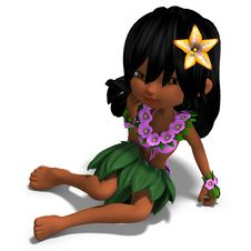 Free Very Cute Hawaiin Cartoon Girl Is Dancing For Royalty Free Stock Photo - 18259565