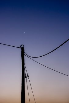 Free Pole And Moon Royalty Free Stock Image - 18260066