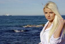 Blonde Near Sea Stock Photo