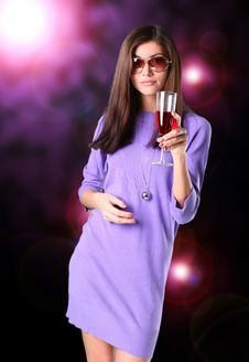 Portrait Of Young Nice Woman With Glass Of Wine
