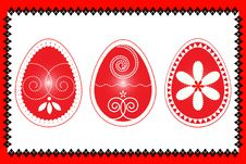 Free Easter Three Eggs In Red Frame  Illustartion Royalty Free Stock Photography - 18261697