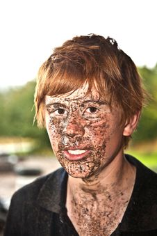 Free Boy Has Dirt In His Face From Driving Quad Stock Image - 18261871