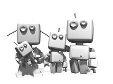 Free 3D White Robot Family. Stock Photo - 18263380