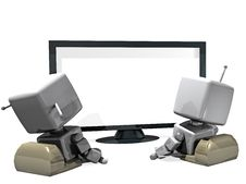 Free 3D Robot Couple In Front Of The TV Stock Images - 18263394
