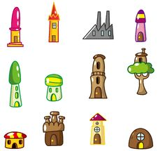 Cartoon House Icon Stock Images