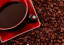 Free Coffee Cup Saucer Corner Raw Beans Royalty Free Stock Photography - 18264167
