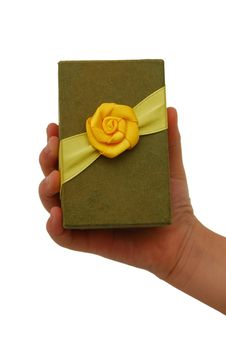 Free Hand With A Small Green Gift Box Stock Image - 18264281