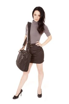 Free Woman Black Gray Stand Bag Royalty Free Stock Photos - 18264378