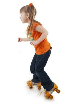 Free The Little Girl On Roller Skates Stock Photo - 18264600