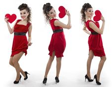 Free Women In A Red Dress Shows The Heart Stock Image - 18264611