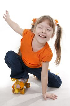 Free The Little Girl On Roller Skates Stock Image - 18264621