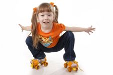 Free The Little Girl On Roller Skates Stock Image - 18264671