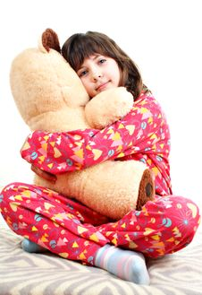 Free Little Girl With Toy Bear Royalty Free Stock Image - 18265756