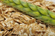 Wheat Flakes And Ear Of Wheat Royalty Free Stock Image