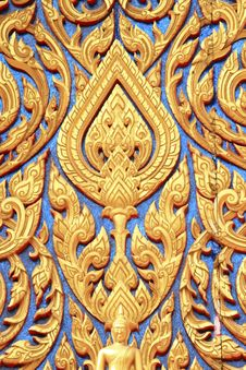Free Traditional Thai Style Art Carving At The Door Of Royalty Free Stock Photography - 18266317