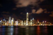Hong Kong Night View Along Victoria Harbour Stock Photo