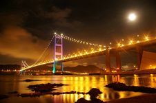 Free Tsing Ma Bridge In Hong Kong At Night Stock Photos - 18266643