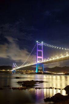 Free Tsing Ma Bridge In Hong Kong At Night Royalty Free Stock Photo - 18266645