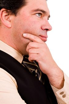 Pensive Mature Business Man Stock Image