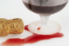 Free Poured Out Wine, Glass And Winy Cork Stock Image - 18269641