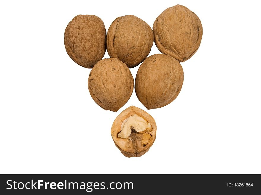 A handful of walnuts into isolated white backgroun
