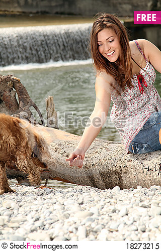 Free Girl With Dog Royalty Free Stock Photo - 18273215