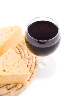 Free Rew Wine Glass And Cheese On Sennit Royalty Free Stock Photo - 18270715