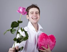 Free Funny Men With Rose And Toy Heart. Stock Images - 18271454
