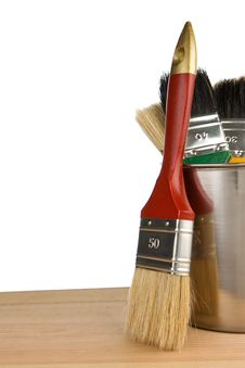 Free Paint Bucket And Paintbrush Isolated On White Stock Photos - 18271843