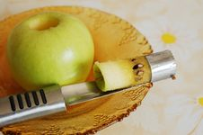 Taking Out An Apple Core Royalty Free Stock Photos