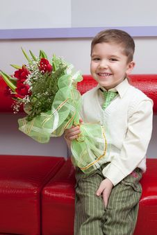 Free Funny Boy With Flowers Stock Photos - 18272413
