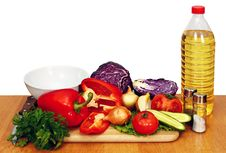 Free Sunflower Seed Oil And Vegetables For Salad Stock Image - 18272511