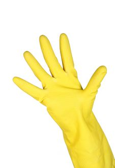 Free Woman Wears A Yellow Rubber Glove Stock Photography - 18273222