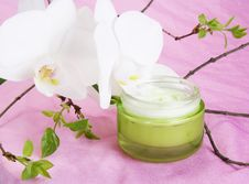 Free Jar Of Moisturizing Cream And Orchid Royalty Free Stock Images - 18273269