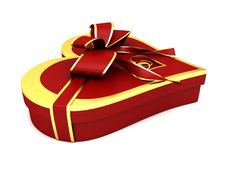Red Heart-shaped Gift With A Bow. Stock Image