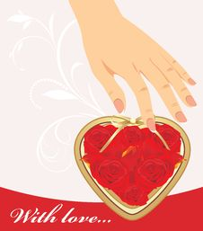 Female Hand And Heart With Red Roses Royalty Free Stock Images