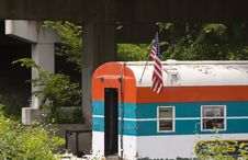 Train & Flag Stock Photography