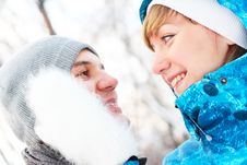 Free Young Playful Couple Has A Fun. Winter Royalty Free Stock Image - 18274876