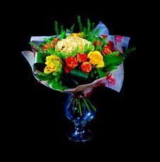 Beautiful Red And Yellow Roses Stock Image