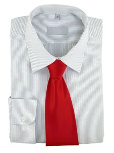 Striped Shirt With Red Silk Necktie On A White Stock Photography