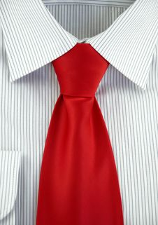 Free Striped Shirt With Red Silk Necktie Stock Photography - 18276552