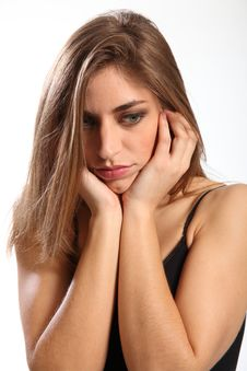 Young Woman Sad Just Received Bad News Stock Photography